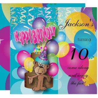 Kleines Affe-Kindergeburtstag-Party Quadratische 13,3 Cm Einladungskarte