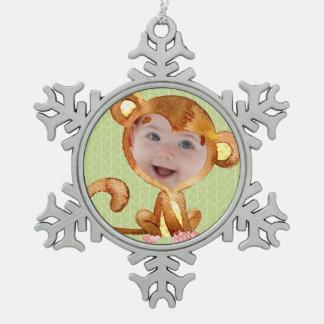 Kleines Affe-WeihnachtsFoto Schneeflocken Zinn-Ornament