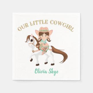 Kleines Cowgirl auf Serviette