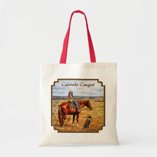 Kleines Cowgirl auf Vieh-Pferd Colorado Budget Stoffbeutel
