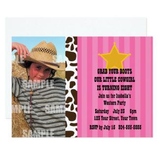 Kleines Cowgirl-Geburtstags-Party 12,7 X 17,8 Cm Einladungskarte