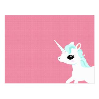 Kleines Einhorn mit blauer Mähnenpostkarte Postkarte
