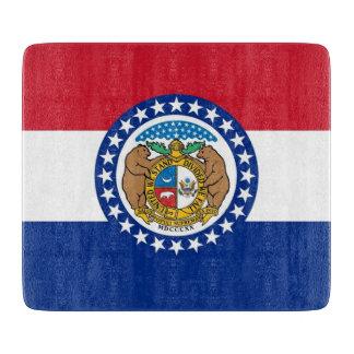 Kleines Glasschneidenbrett mit Missouri-Flagge Schneidebrett