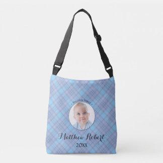 Kleines Jungen-blaues kariertes Prinz-Baby Tragetaschen Mit Langen Trägern