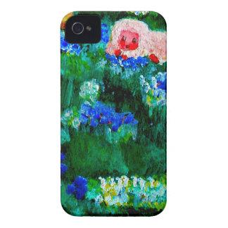 Kleines Lamm, das im Blumen-Kunst-Geschenk schläft Case-Mate iPhone 4 Hülle