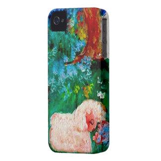 Kleines Lamm, welches das Blumen-Kunst-Geschenk iPhone 4 Case-Mate Hülle