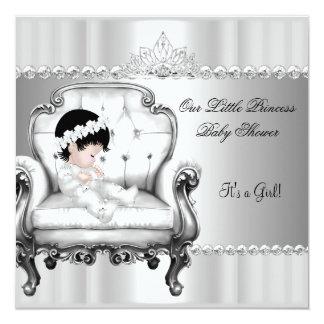 Kleines Mädchen-Baby Prinzessin-Babyparty auf Quadratische 13,3 Cm Einladungskarte