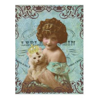 kleines Mädchen des Vintagen Fotos und Postkarte
