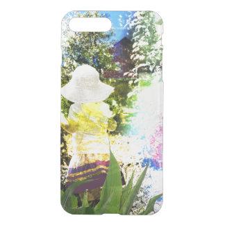 Kleines Mädchen-Natur-Collagen-Rosa-Blumen-blaues iPhone 7 Plus Hülle