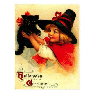 Kleines Mädchen und ihre schwarze Katze Postkarte