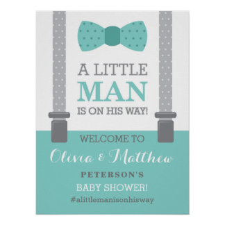 Kleines Mann-Willkommensschild-Plakat, Babyparty Poster