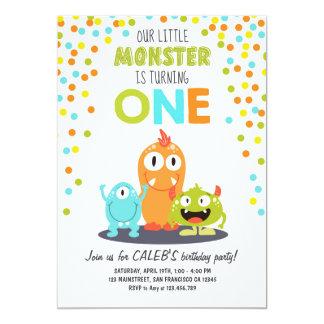 Kleines Monster-erster Geburtstags-Party 12,7 X 17,8 Cm Einladungskarte