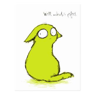 Kleines niedliches gelbgrünes Yokai Monster Postkarte