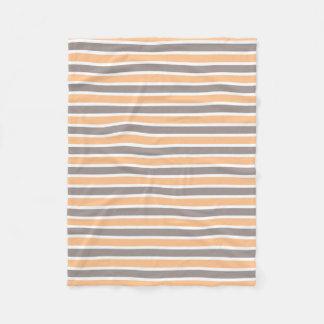 Kleines orange Grau Striped Fleecedecke