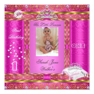 Kleines Rosa Prinzessin-First Birthday Party Foto Quadratische 13,3 Cm Einladungskarte