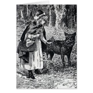Kleines Rotkäppchen, das Wolf im Holz Petting ist Karte