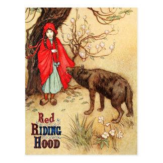 Kleines Rotkäppchen und der große schlechte Wolf Postkarte
