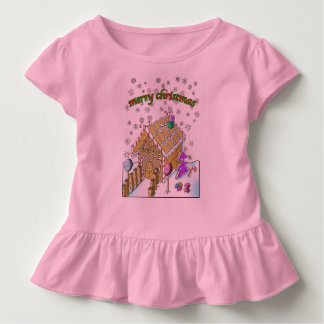 Kleinkind-Rüsche-T-Stück, frohe Weihnachten Kleinkind T-shirt