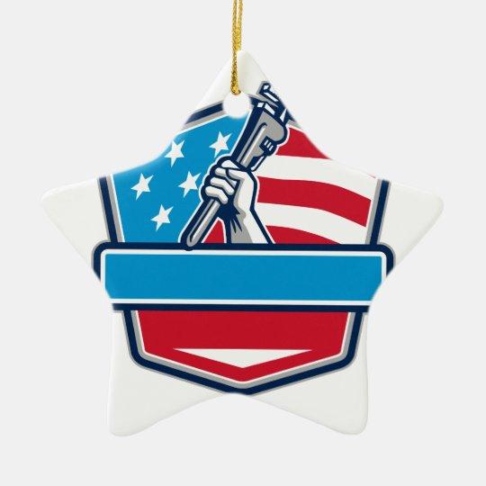 Klempner-Handrohr-Schlüssel USA-Flaggen-Schild Keramik Stern-Ornament