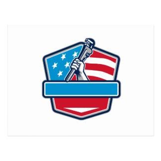 Klempner-Handrohr-Schlüssel USA-Flaggen-Schild Postkarte