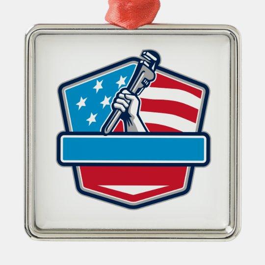 Klempner-Handrohr-Schlüssel USA-Flaggen-Schild Quadratisches Silberfarbenes Ornament