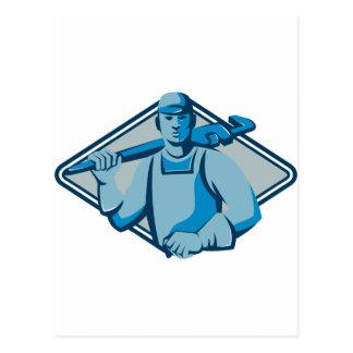 Klempner mit dem Universalschraubenschlüssel Retro Postkarte
