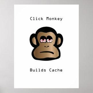Klicken-Affe errichtet Pufferspeicher Poster