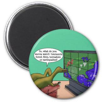 Klimawandel-Dinosaurier Runder Magnet 5,1 Cm
