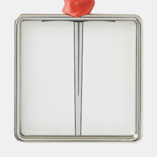 Klinge #2 quadratisches silberfarbenes ornament