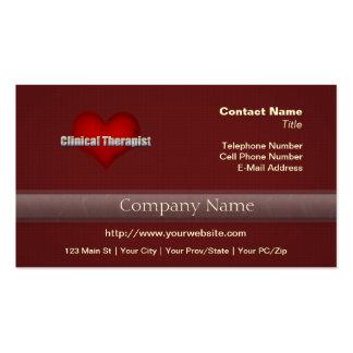 Klinischer Therapeutchrom-Schriftart und rotes Visitenkartenvorlage