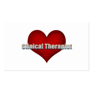 Klinischer Therapeutchrom-Schriftart und rotes Visitenkarten Vorlage