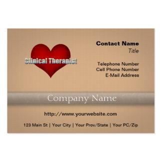 Klinischer Therapeutchrom-Schriftart und rotes Visitenkarten Vorlagen
