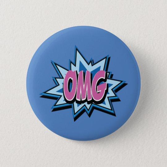 """Knopf-Abzeichen des Comic-Text-""""OMG"""" Runder Button 5,1 Cm"""
