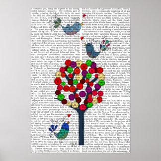 Knopf-Baum und Vögel blau Poster