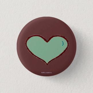 Knopf - blaues Herz Runder Button 3,2 Cm