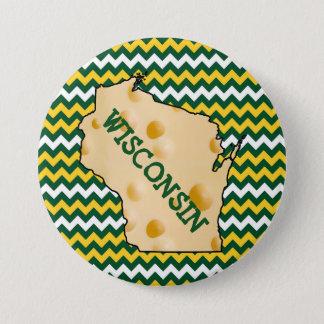 Knopf-Grün und Gold Wisconsins Cheesehead Runder Button 7,6 Cm