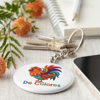 Knopf Keychain De Colores Rooster Gallo Schlüsselanhänger