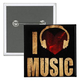 "Knopf ""Love Music ""I Quadratischer Button 5,1 Cm"