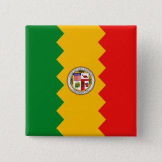 Knopf mit Flagge von Los Angeles, Kalifornien Quadratischer Button 5,1 Cm