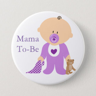 Knopf Mutter-To Be Purple Baby Runder Button 7,6 Cm