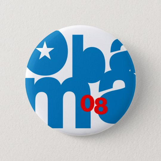 Knopf Obama-Quadrats 08 Runder Button 5,7 Cm