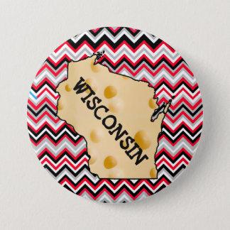 Knopf Wisconsins Cheesehead rot und schwarz Runder Button 7,6 Cm