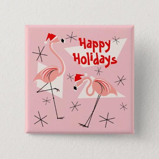 Knopfquadrat Flamingo-Sankt-Rosas frohe Feiertage Quadratischer Button 5,1 Cm