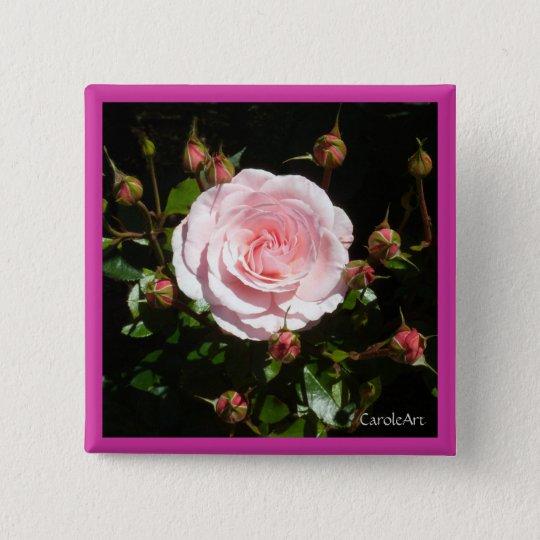 Knospende rosa Rosen-Knospen Quadratischer Button 5,1 Cm
