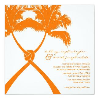 Knoten-Palme-Strand-tropische Hochzeits-modernes Karte