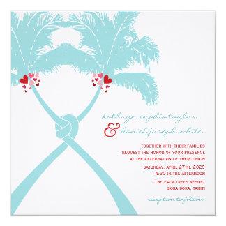 Knoten-Palme-Strand-tropische Hochzeits-modernes Quadratische 13,3 Cm Einladungskarte