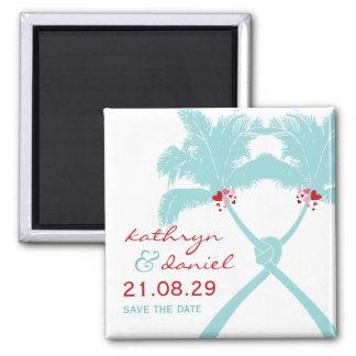 Knoten-Palme-Strand-tropische Hochzeits-modernes Quadratischer Magnet
