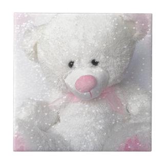 Knuddeliger weißer Teddybär Fliese