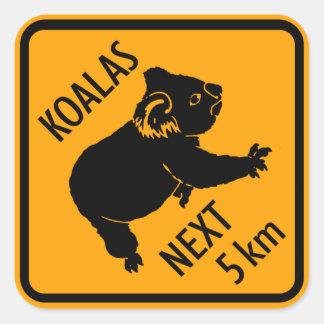 Koala-Bärn-Australien-Zeichen (Satz von 6/20) Quadratischer Aufkleber