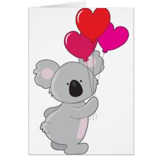 Koala-Herz-Ballone Grußkarte